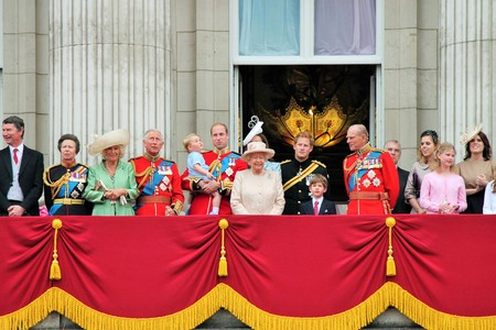 QUEEN ELIZABETH, LONDON, UK - JUNE 13: Royal Family appears on Buckingham Palace balcony during Trooping the Colour ceremony, also Prince Georges first appearance on balcony, on June 13, 2015 in London Editorial