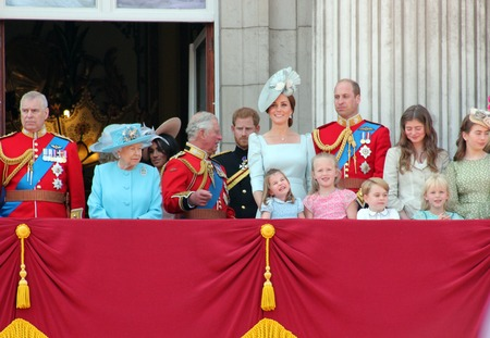 Queen Elizabeth, London, uk, June 2018- Meghan Markle, Prince Harry, Prince George William, Charles, Kate Middleton & Princess Charlotte Trooping the colour Royal Family at Buckingham Palace, June 10 2018 London, uk Editoriali