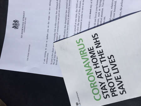 London, Uk - 08/04/2020: Coronavirus covid-19 Boris Johnson Prime minister letter sent to households UK with advise regarding pandemic guidelines and information: social distancing and isolation Editorial