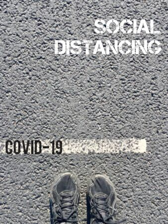social distancing coronavirus concept - social distance to slow/stop the spread of the virus - stock photo