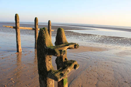 Winchelsea beach landscape view at low tide exposing flat sand with wooden sea groynes protruding from the sand, by Rye Harbour Nature reserve East Sussex UK
