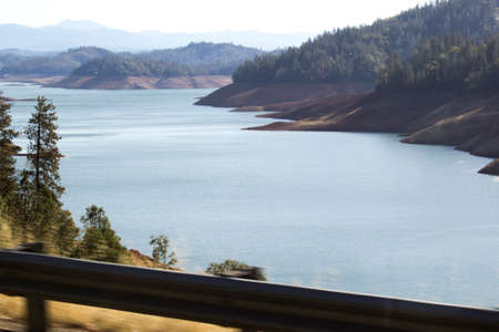 terribly: After four years of drought in California, Lake Shasta, in Shasta County, Northern California, has a terribly low water line.
