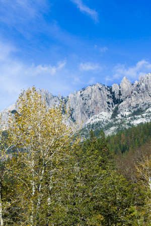 the crags: Showing off the scenic beauty of Castle Crags in northern California as seen when travelling Northbound on the Interstate 5 freeway.