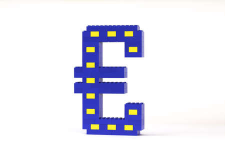A blue and yellow Euro symbol constructed from toy bricks and shot against a white background at an angle to show its 3D nature.  The design incorporates the Eureopean flag. photo