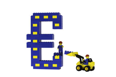 A blue and yellow Euro symbol constructed from toy bricks and shot against a white background at an angle to show its 3D nature.  Model figures are building the Euro suggesting the buidling of Europe. The design incorporates the European flag. photo