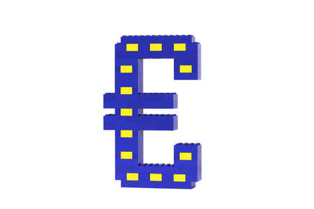 A blue and yellow Euro symbol constructed from toy bricks and shot against a white background at an angle to show it's 3D nature.  The design incorporates the Eureopean flag. Stock Photo - 7468438