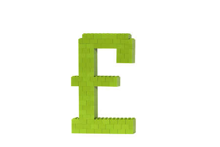 A green Pound symbol (GBP) constructed from toy bricks and shot against a white background at an angle to show its 3D nature. photo