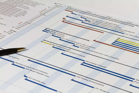 """planowanie: Szczegółowe Wykres Gantta wskazujÄ…cy zadaÅ"""", zasobów i notatki. Zawiera pióra na lewej stronie. Zdjęcie Seryjne"""