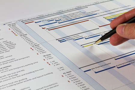 business project: Detailed Gantt Chart showing Tasks, Resources and Notes. Includes a pen being held by a man on the right.