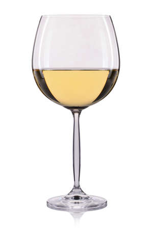pinot grigio: White wine in a glass isolated on white background.