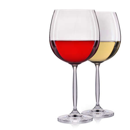 syrah: Set of red and white wine in a glass isolated on white background.