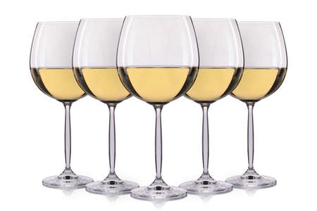 pinot grigio: Set of white wine in a glass isolated on white background. Stock Photo
