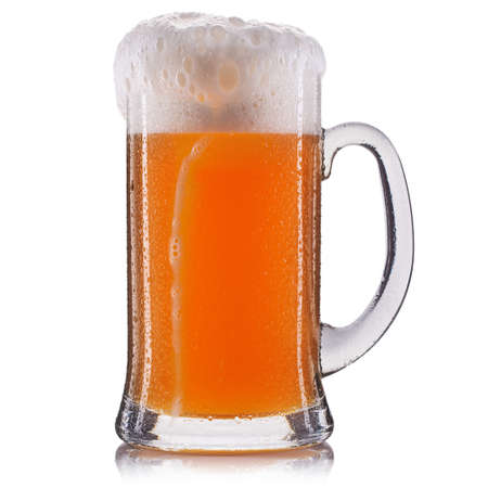 unfiltered: Frosty glass of unfiltered beer isolated on a white background.