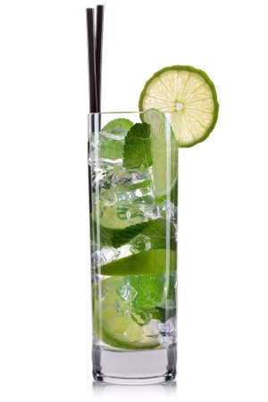 highball: Mojito cocktail in highball glass isolated on white background.