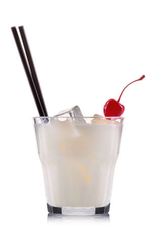 tom collins: White russian cocktail in old fashioned glass isolated on white background.