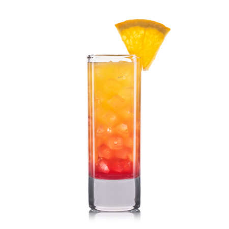 bacardi: Red shot cocktail with orange isolated on white background.