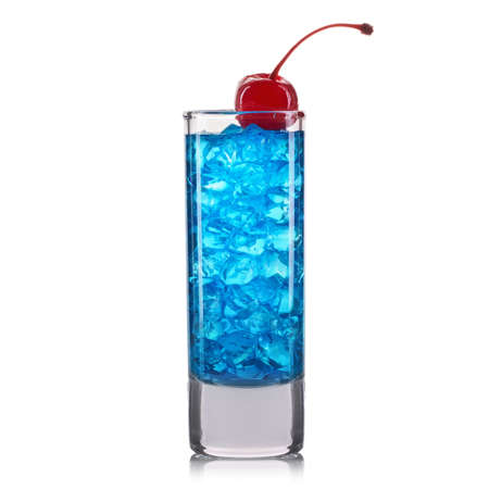 Blue curacao cocktail shot with cherry isolated on white background Imagens