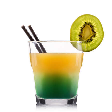 bacardi: Exotic green cocktail in old fashioned glass isolated on white background. Stock Photo