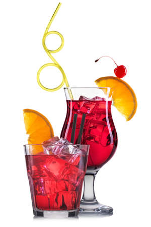 bacardi: Set of red cocktails with decoration from fruits and colorful straw isolated on white background.