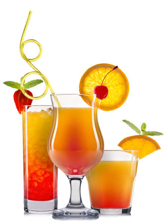 bacardi: Set of orange cocktails with decoration from fruits and colorful straw isolated on white background. Stock Photo