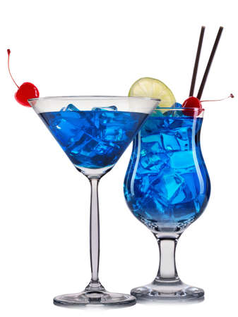 bacardi: Set of blue cocktails with decoration from fruits and colorful straw isolated on white background.