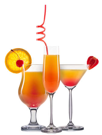 bocal: Set of orange cocktails with decoration from fruits and colorful straw isolated on white background. Stock Photo