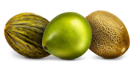 Cantaloupe: Group of melons and pomelo isolated on white background.