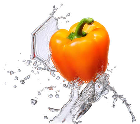 Water splash and vegetables isolated on white backgroud with clipping path. Fresh bell pepper Stock Photo