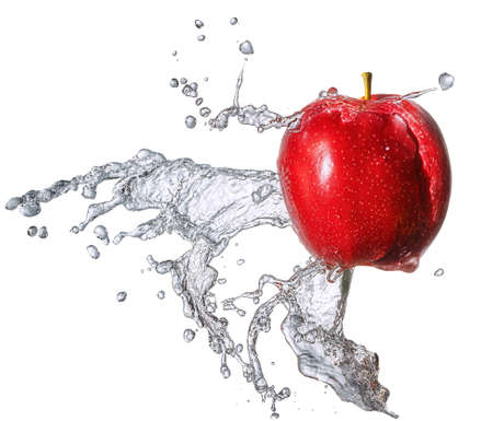 Water splash and fruits isolated on white backgroud with clipping path. Fresh apple Stock Photo