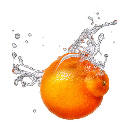 Water splash and fruits isolated on white backgroud with clipping path. Fresh mandarin