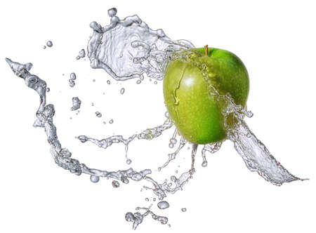 Water splash and fruits isolated Stock Photo