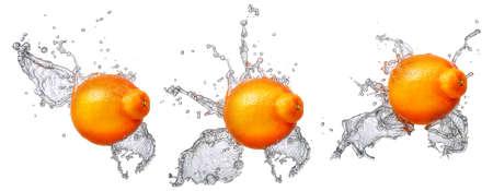 Wasserspritzen und -früchte getrennt auf weißem backgroud. Frische Mandarine