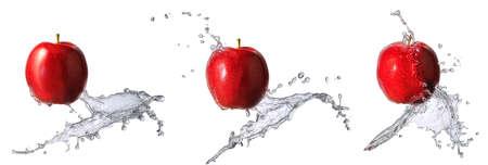 Water splash and fruits isolated on white backgroud. Fresh apple Stock Photo