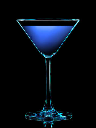 Silhouette of colorful martini glass with on black background