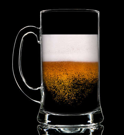 Silhouette of colorful beer glass with on black background