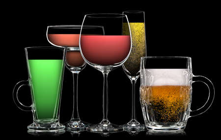 Set of multicolor different drinks in various glasses on black background Stock Photo