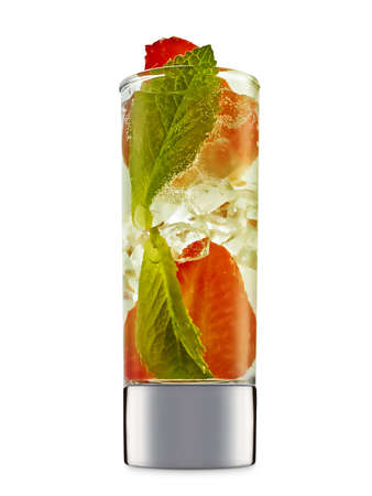 fresh fruit alcohol cocktail or mocktail in shot glass with ice, strawberry and mint isolated on white background