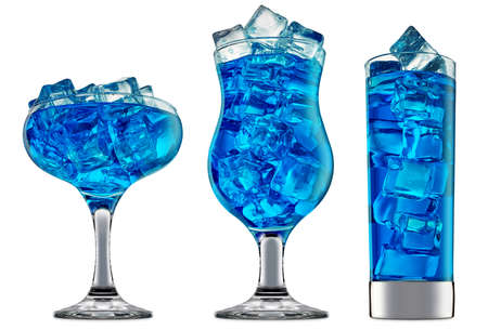fresh fruit alcohol cocktail or mocktail in classic glass with blue beverage and ice cubes isolated on white background