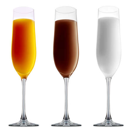 Pina colada, white russian,Irish Cream chocolate Liqueuron, mimosa fresh fruit alcohol cocktail or mocktail in champagne glass with blue white and orange beverage isolated on white background