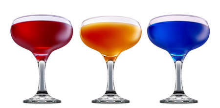 fresh fruit alcohol cocktail or mocktail in margarita glass with blue red and orange beverage isolated on white background Stock Photo