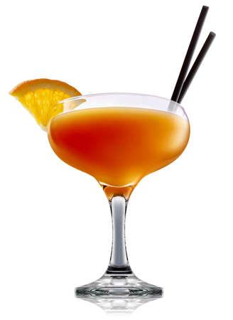 흰색 배경에 고립 된 오렌지 음료와 함께 마가리타 유리에 신선한 과일 알콜 칵테일 또는 mocktail 미모사