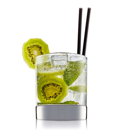 hard: fresh fruit alcohol cocktail or mocktail in classic glass with ice cubes, kiwi and mint isolated on white background