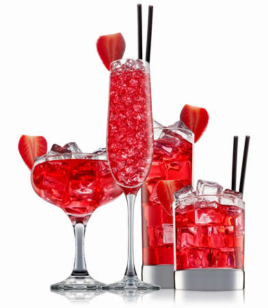fresh fruit alcohol cocktail or mocktail in classic glass with red beverage and ice cubes isolated on white background