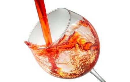 Wine splashing on glass isolated on white background