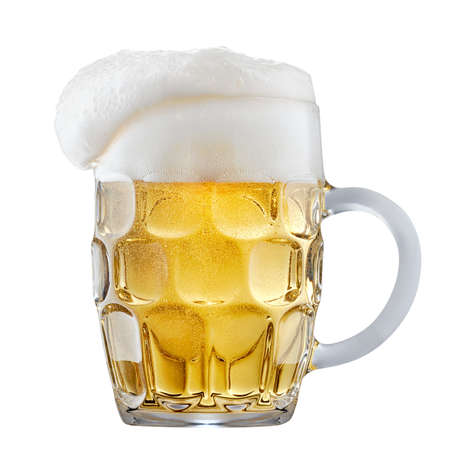 Mug of frosty light beer with foam isolated on a white background Stock Photo - 85263656