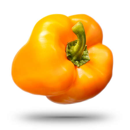 Single sweet yellow bell pepper isolated on white background