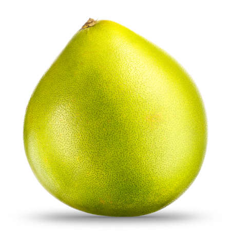 Green pomelo citrus fruit isolated on white background. With clipping path. Archivio Fotografico