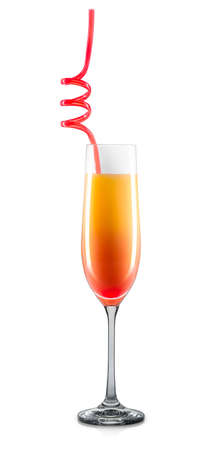 Mimosa cocktail in champagne glass with colorful straw isolated on white background. Stock Photo
