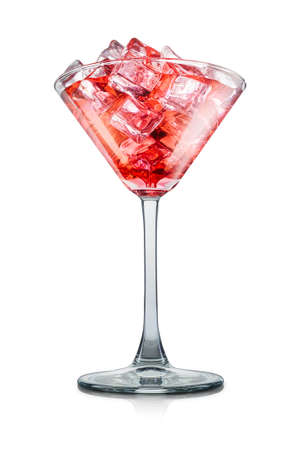 Cosmopolitan cocktail in martini glass with strawberry on white background Stock fotó