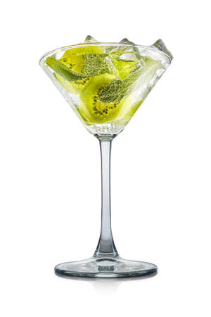Mojito cocktail in martini glass with mint, kiwi and ice cubes on white background.